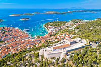 Amazing town of Hvar and Fortica fortress aerial view