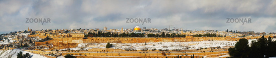 Panorama of Old City in Jerusalem, Israel