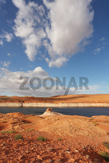 Red stone desert and the blue water