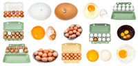 collection of various raw chicken eggs isolated