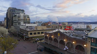 Seattle, WA/USA – March, 24: Aerial View Public Market Center closed for Covid19 Pandemic on March 24th 2020