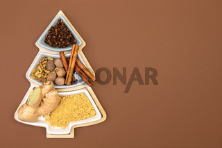 Set of spices for baking Christmas cookies.