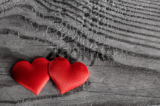 Valentines day hearts on wood
