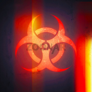 Biohazard Sign (danger caution sign), Pandemic Expansion Symbol. The emblem of pathogen infection and the spread of the diseases.