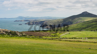 View from St Davids peninsula along the dramatic coastline, Pembrokeshire, Wales