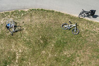 Bicycles on a bike path from above