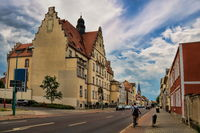 Schönebeck, Germany - June 20, 2020 - street in the old town