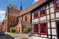 güstrow, germany - 07.06.2019 - old town with cathedral