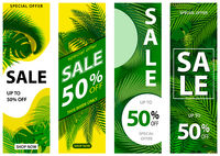 Set of 4 Sale Banners with Tropical Leaves