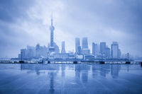 blue shanghai skyline in cloudy