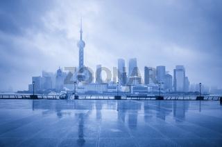 blue shanghai skyline in cloudy