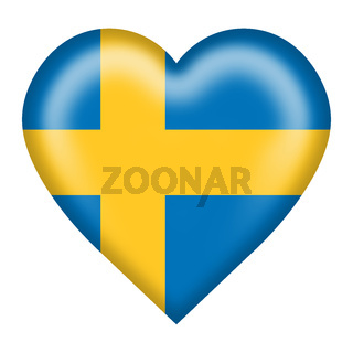 Sweden flag heart button isolated on white with clipping path 3d illustration