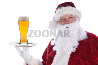 Santa Claus holding a silver platter with a glass of beer, isolated on white.