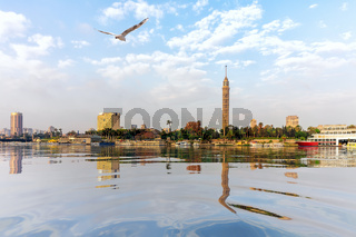The Nile in Cairo, view on the TV Tower, Egypt