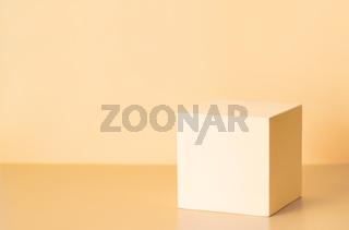 Light cub podium on yellow background