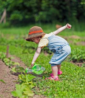 Mädchen gießt Gemüsebeet