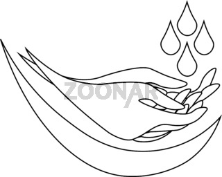 Contour illustration of washing hands under water drops