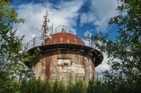 Abandoned military tower with antennas