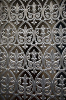 Collection of black forged gates and forged decorative lattice with flowers