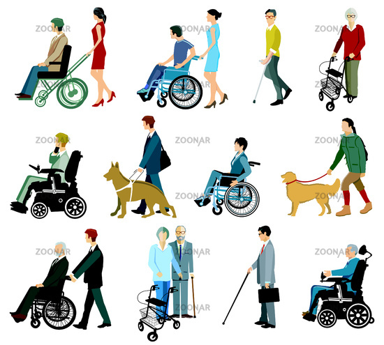 Group of people with disabilities and walking aids, isolated