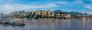 Panorama of Chongqing town on the Yangtze river