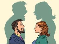 Man and woman conflict quarrel concept.