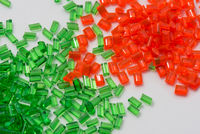 red and green transparent polymer resin