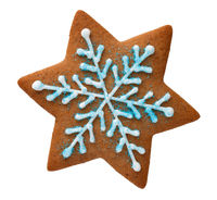 Gingerbread Star In Shape Of Isolated