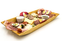 Rustic sausage platter of salted and sliced meats