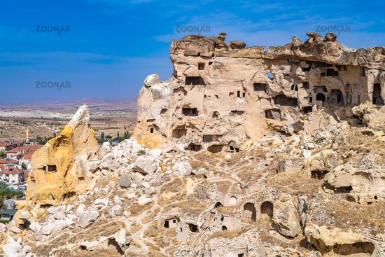 Cavusin ruined rock village in Cappadocia, Turkey.
