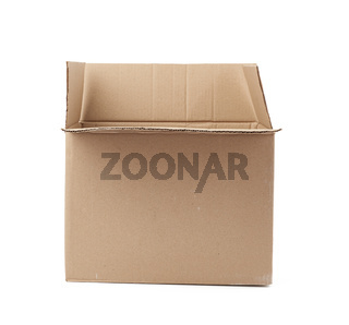 open empty brown square cardboard box for transporting goods