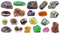 set of various Garnet natural mineral gem stones