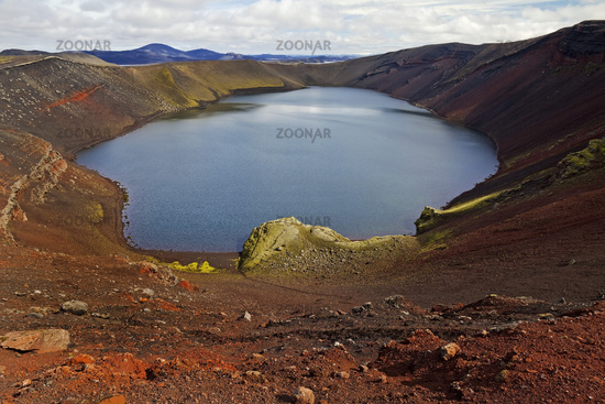 Maar of the Ljótipollur explosion crater, Rangárthing ytra, Iceland, Europe