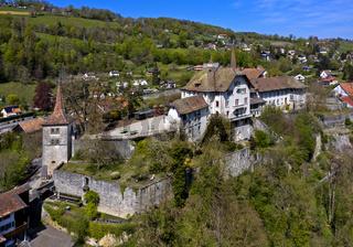 Schloss Carrouge, Oberstadt Le Bourg, Moudon, Kanton Waadt, Schweiz