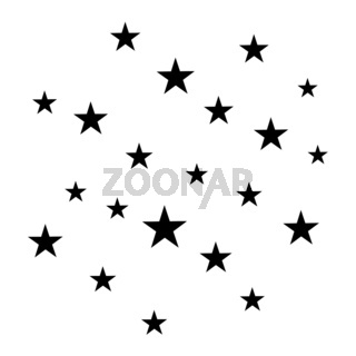 Black vector stars and moon. Minimal sparkles isolated on white.