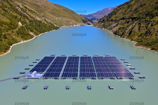 high altitude floating solar power plant, Lac des Toules, Bourg-Saint-Pierre, Valais, Switzerland