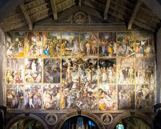 Italian Renaissance masterpiece 'Parete Gaudenziana' (Gaudenziana Wall) in Varallo - Italy