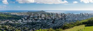 Panorama of Waikiki and Honolulu from Tantalus Overlook on Oahu