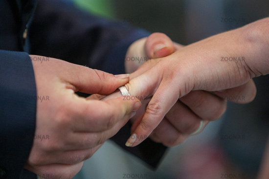 Bride and groom exchanging of the Wedding Rings