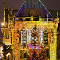 Illuminated east entrance of Bremen town hall, light art in the city 2020, Bremen, Germany, Europe