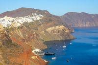 Yachts Parked Near Santorini on a Sunny Day