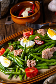 Rustic green bean salad with egg and tuna
