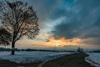Fantastic snowy winter landscape near Heiligenberg on Lake Constance