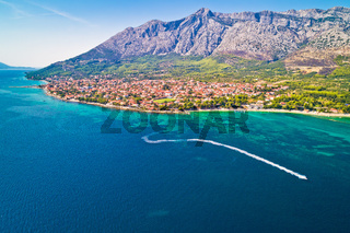 Aerial view of Town of Orebic on Peljesac peninsula waterfront