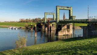 Lift bridge Walsum, Duisburg, North Rhine-Westphalia, Germany