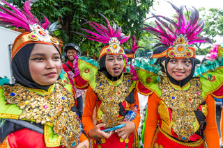 Girls in traditional  clothes in Jakarta Indonesia