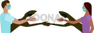 Social Distancing Handshake Greeting Vector