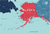 Alaska State Political map of the United States