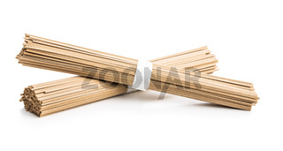 Uncooked soba noodles. Traditional Japanese noodles.