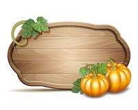 Wooden banner with Orange pumpkins. Vector illustration Autumn Harvest Festival